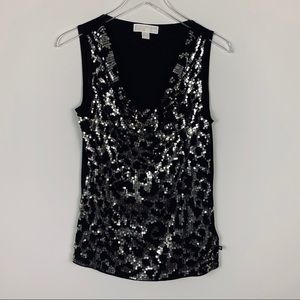 Michael Kors sequined tank w/cowl neck SZ M